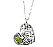 Or Paz Sterling Peridot Heart Pendant with Chain - J337627