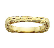 Simply Stacks Sterling & 18K Gold Plated Textured Square Ring - J338927