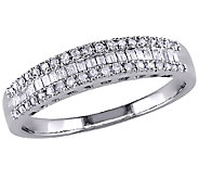 Baguette & Round Diamond Ring, 14K White Gold,by Affinity - J340827