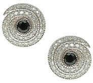 Judith Ripka Sterling Black Spinel Diamonique Button Earrings - J341527