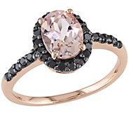 1.10ct Morganite & 1/4ct Black Diamond Ring - J341627