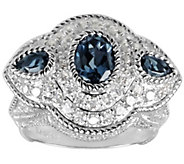 Judith Ripka Sterling, London Blue Topaz & Diamonique Ring - J341727