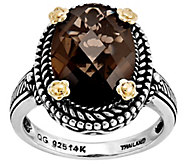 Sterling and 14K Gold 4.25 ct Smoky Quartz Ring - J342327