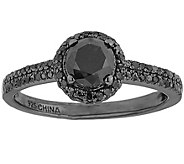 Black Diamond Ring, Sterling, 1.00 cttw, by Affinity - J344127