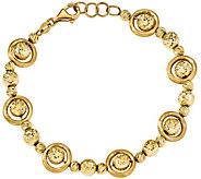 14K Gold Round Diamond-Cut Bead 7-1/2  Bracelet, 10.7g - J344927