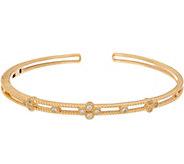Judith Ripka 14K Gold 1/7 cttw Diamond Cuff Bracelet - J347527