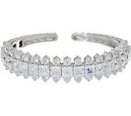 Judith Ripka Sterling Silver Princess Cut Diamonique Cuff Bracelet - J348127