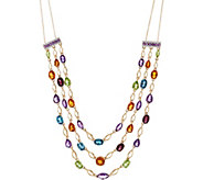 Multi-Cut Semi-Precious Gemstone Layer Necklace, 14K 18.70 cttw - J348827