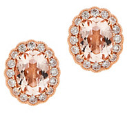 Morganite Beryl Diamond Stud Earrings, 1.65 cttw, 14K - J354027