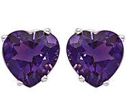 14K White Gold Heart-Shaped Gemstone Post Earrings - J375027