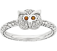 Simply Stacks Sterling Garnet & 1/10 cttw Diamond Owl Ring - J376427