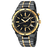 Seiko Mens Kinetic Black/Goldtone Watch - J107728