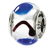 Prerogatives Sterling White & Blue Italian Murano Glass Bead - J111728