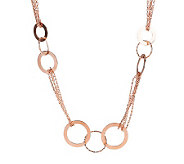 Bronze 36 Polished & Textured Circle Necklace by Bronzo Italia - J272128