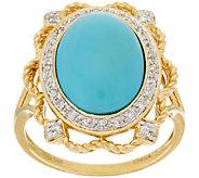 Sleeping Beauty Turquoise & Diamond Filigree Design Ring, 14K - J284228