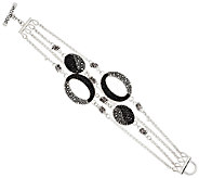 Michael Dawkins Starry Night Sterling & Pave Black Spinel Row Bracelet - J292228