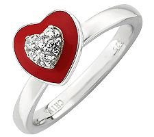 Simply Stacks Sterling Polished Red Epoxy Enamel Heart Ring
