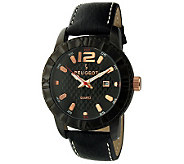 Peugeot Mens Black Leather Strap Sport Bezel Watch - J313428