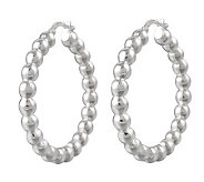 UltraFine Silver 1-1/4 Polished Bead Hoop Earrings - J313528