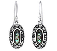 Sterling Marcasite and Abalone Oval Dangle Earrings - J314128
