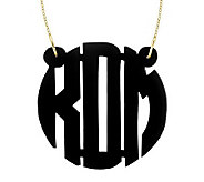 1-1/2 Acrylic Block Monogram Necklace, 24K Plated Sterling - J315228