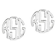 Sterling Polished 1/4 Circle Block Monogram Stud Earrings - J316828