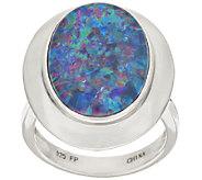 Sterling Australian Opal Triplet Bold Oval Ring - J317828