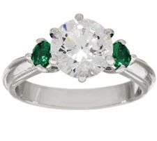 Epiphany Diamonique & Simulated Gemstone 3-Stone Ring