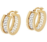 14K Gold Two-Tone Greek Key Design Hoop Earrings - J320028