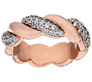 Bronze Crystal Polished & Twisted Ring by Bronzo Italia - J321428