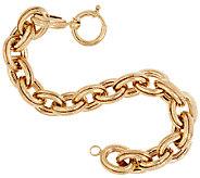 14K Gold 6-3/4 Polished & Textured Oval Rolo Link Bracelet, 14.5g - J321528