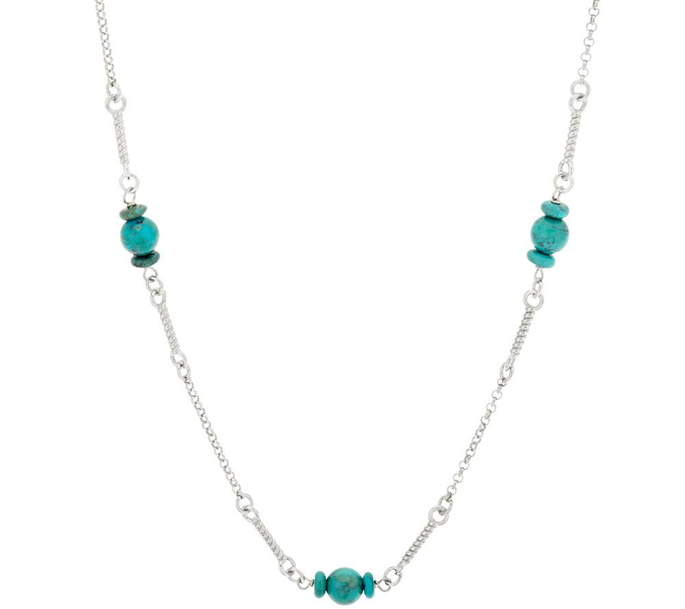 vicenza silver sterling 24 quot turquoise bead station necklace qvc