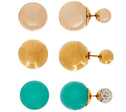 Stainless Steel Set of 3 Double Sided Stud Earrings - J323228