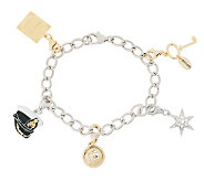 As Is Titanic Sterling/14K Clad Charm Bracelet 7 - J323428