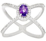 As Is Graziela Gems Gemstone & Zircon X-Design Sterling Ring - J324928