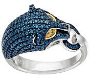 Panther Head Link Diamond Ring, Sterling, 1/4 cttw, by Affinity - J326528