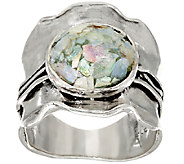 Sterling Silver Scalloped Roman Glass Ring by Or Paz - J326628