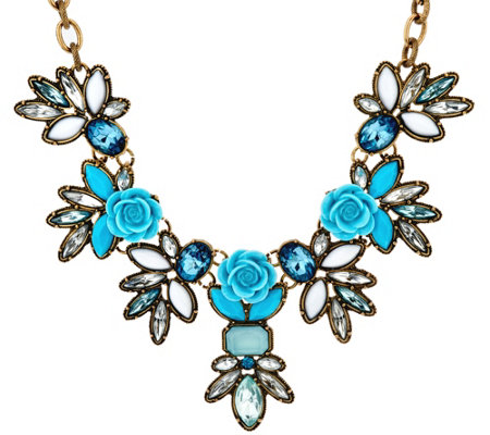 Joan rivers vintage style roses necklace w 3 extender for Joan rivers jewelry necklaces