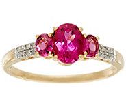 Rubellite & Diamond 3-Stone Design Ring, 14K Gold, 1.10 ct tw - J328028