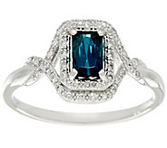 Emerald Cut Blue Tourmaline & Diamond Ring 14K Gold, 0.50 ct - J329328