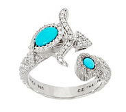 Judith Ripka Sterling Silver Gemstone & Diamonique Zodiac Ring - J329628