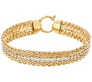 14K Gold 6-3/4 Double Wheat and Crystal Bracelet, 7.2g - J330128