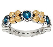 Barbara Bixby Sterling & 18K 0.65 cttw Gemstone Flower Band Ring - J331628