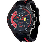 Ferrari Mens Black Silicone Strap RedRec Evo Chrono Watch - J334328