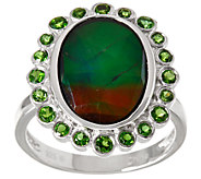 Oval Ammolite Triplet & Chrome Diopside Sterling Silver Ring, 0.50 cttw - J346228