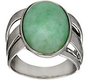 Burmese Jade Oval Sterling Silver Bold Ring - J347728