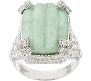 Judith Ripka Sterling Carved Jade Monaco Ring - J348228