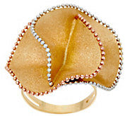 Italian Gold Tri-color Textured Flower Ring, 14K - J348828