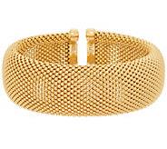Bronze Bead Texture Flexible Cuff Bracelet by Bronzo Italia - J349328