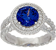 Diamonique and Simulated Tanzanite Ring, Sterling - J350028